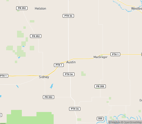 Map of Austin, MB