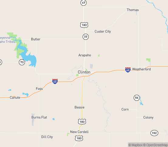Map of Clinton, OK