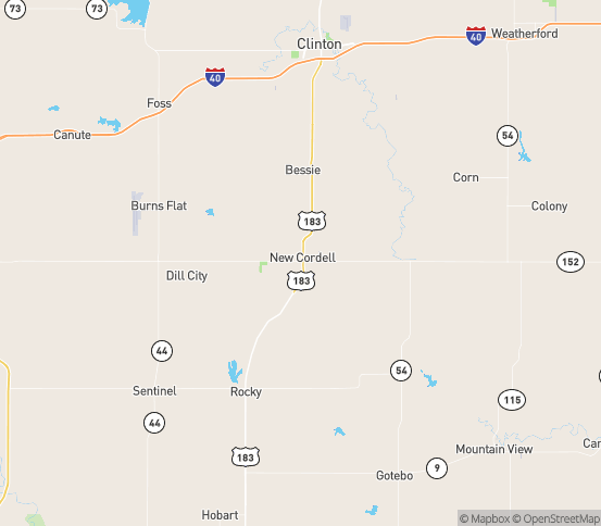 Map of Cordell, OK