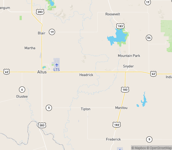 Map of Headrick, OK