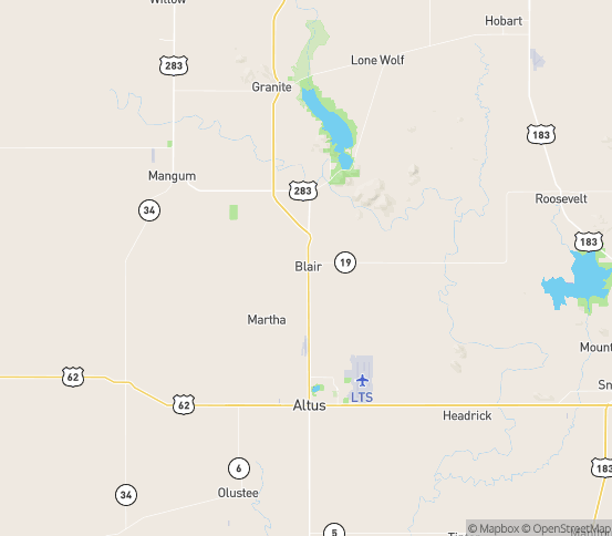 Map of Blair, OK