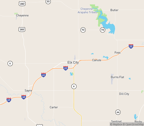 Map of Elk City, OK