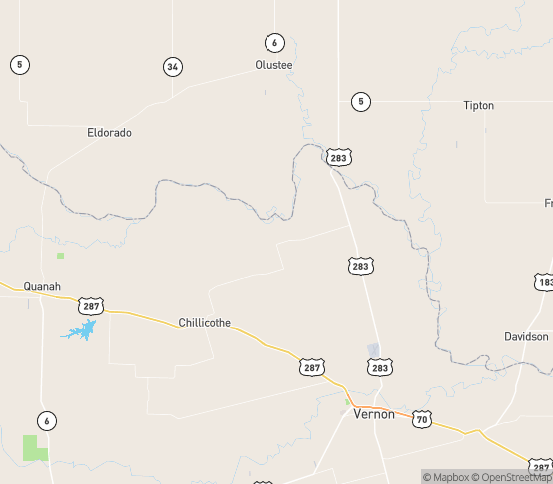 Map of Chillicothe, TX