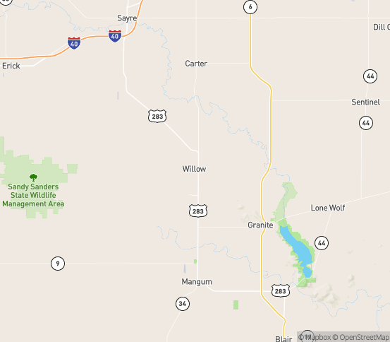 Map of Willow, OK