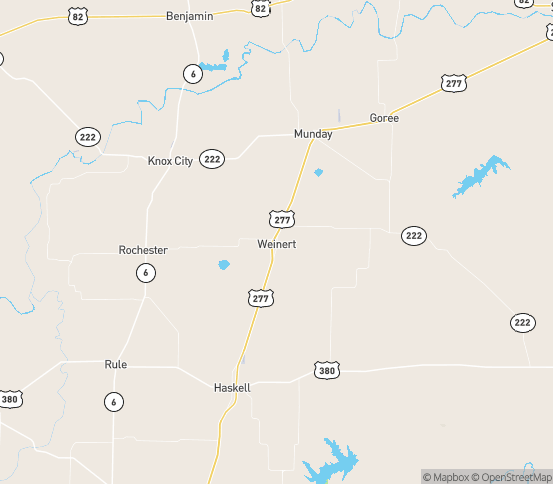 Map of Weinert, TX