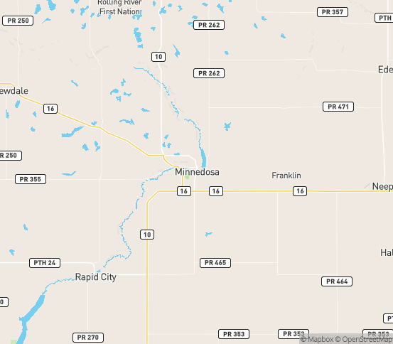 Map of Minnedosa, MB