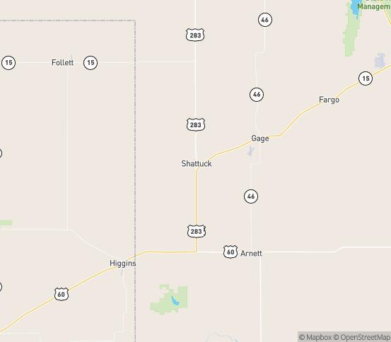 Map of Shattuck, OK