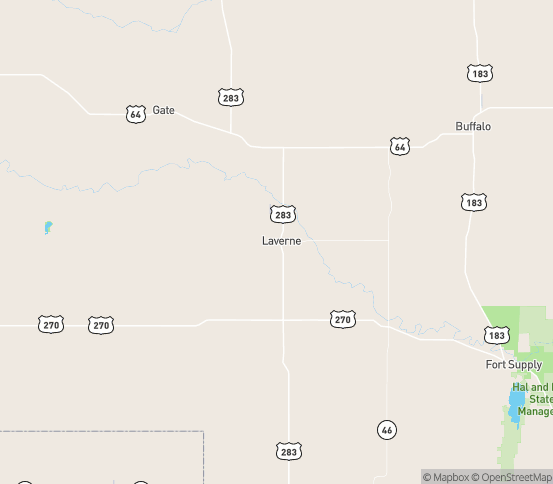 Map of Laverne, OK