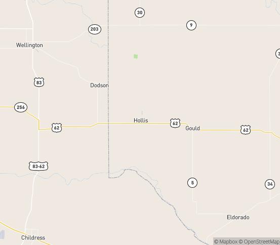 Map of Hollis, OK