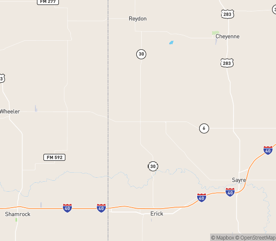 Map of Sweetwater, OK