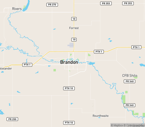 Map of Brandon, MB