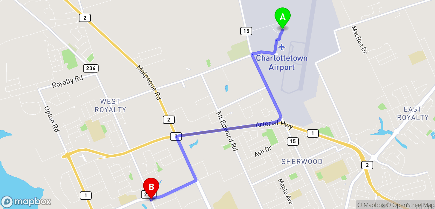TaxiFareFinder - $13.35 taxi fare from Charlottetown Airport, Maple ...