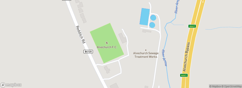 Alvechurch F.C. Lye Meadow Directions: Exit M42 Junction 2. Take A441 to Redditch. At island take B4120 to Alvechurch. Ground approx 1 mile on right (Car Park entrance before ground)