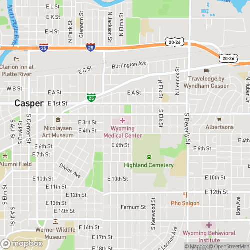 Google Map of Wyoming Medical Center, Casper, WY