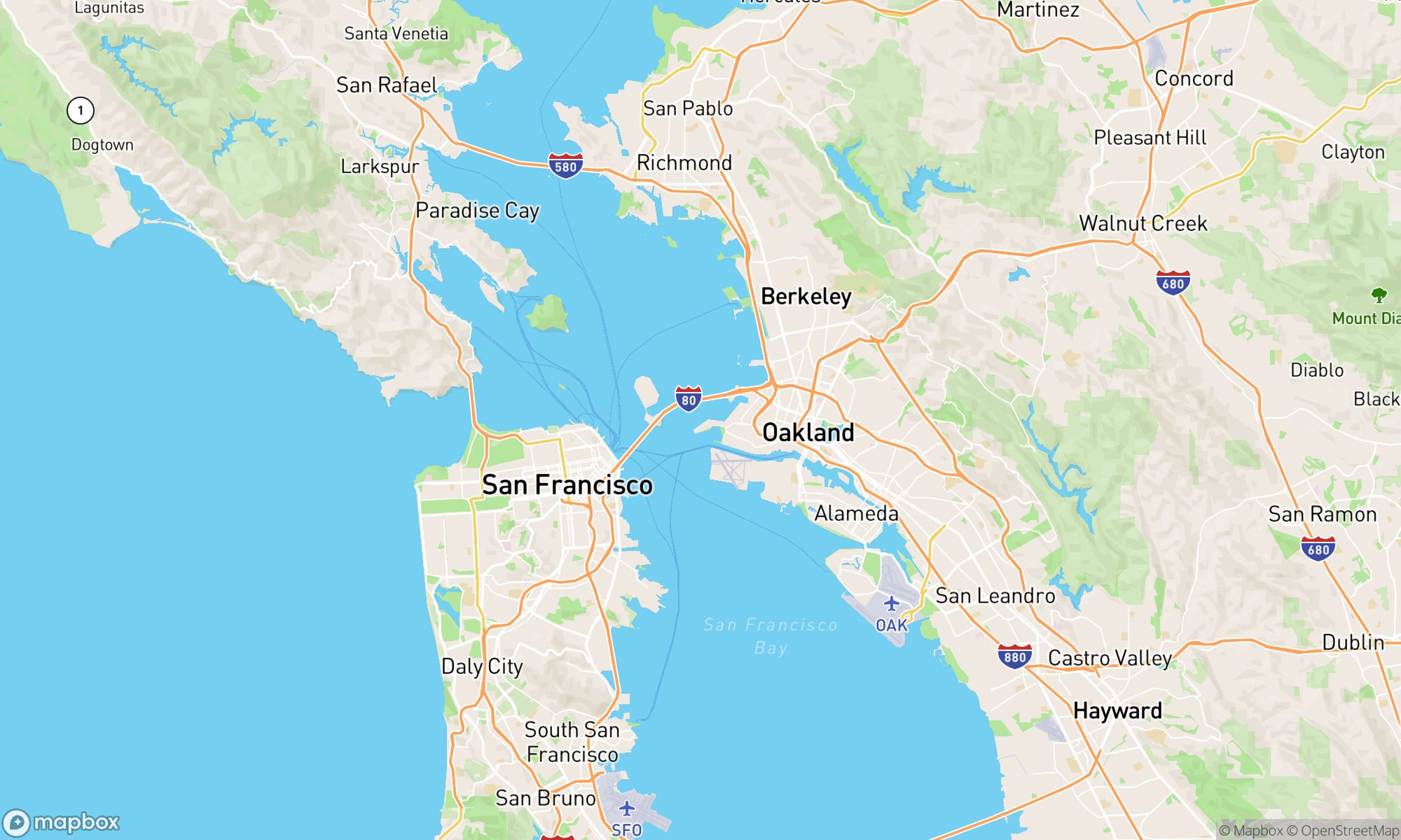 static mapbox map of the san francisco bay area