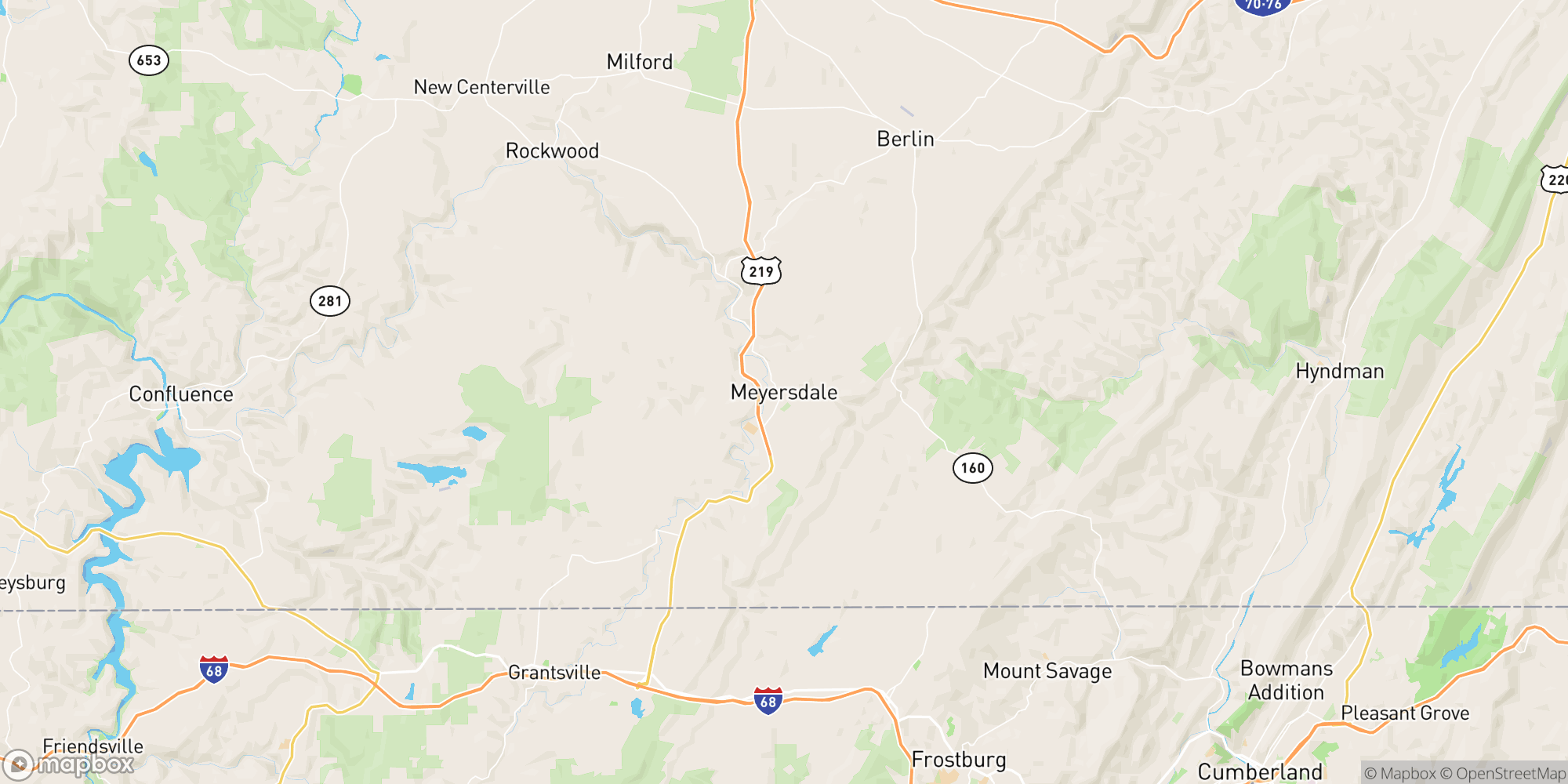 Map of Somerset Area Event Center and Pub – Pittsburgh Area