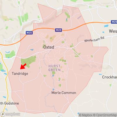 Location of Tandridge within RH8