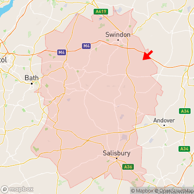 Location of Aldbourne within Wiltshire