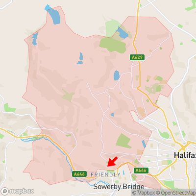 Location of Warley Town within HX2