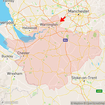 Location of Glazebrook within Cheshire