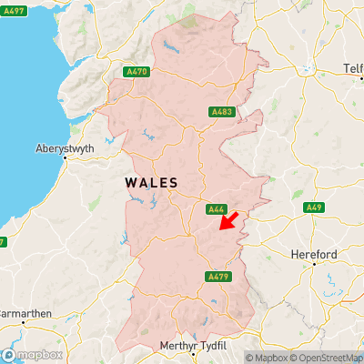 Location of Glascwm within Powys