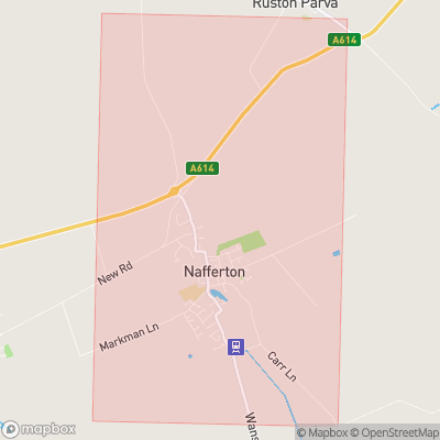 Map showing extent of Nafferton as bounding box