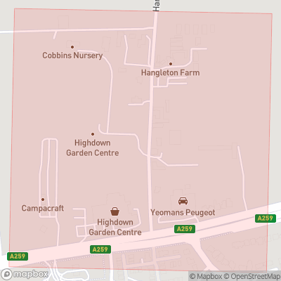 Map showing extent of Hangleton as bounding box