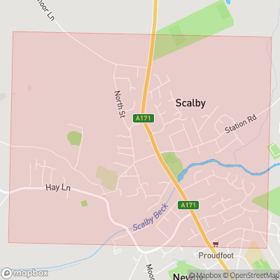 Map showing extent of Scalby as bounding box