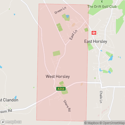 Map showing extent of West Horsley as bounding box