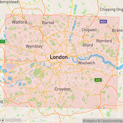 Map showing extent of London as bounding box