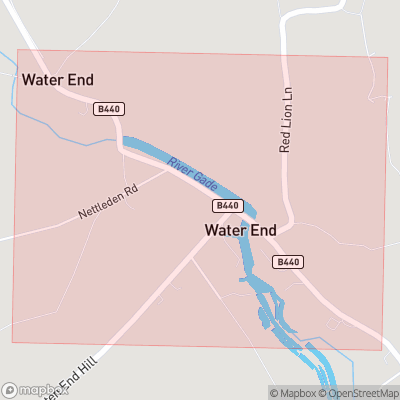 Map showing extent of Water End as bounding box