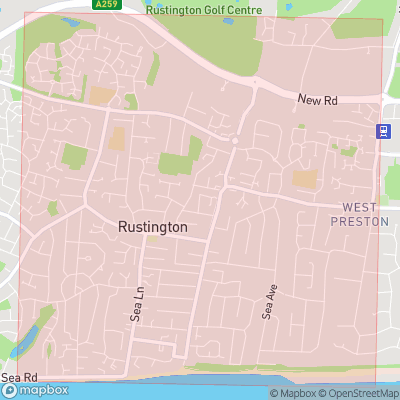 Map showing extent of Rustington as bounding box