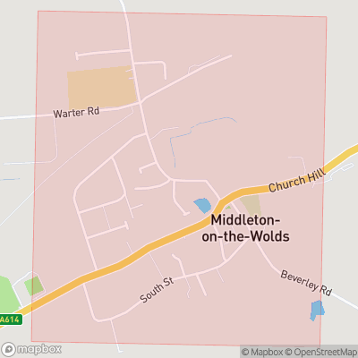 Map showing extent of Middleton-on-the-Wolds as bounding box