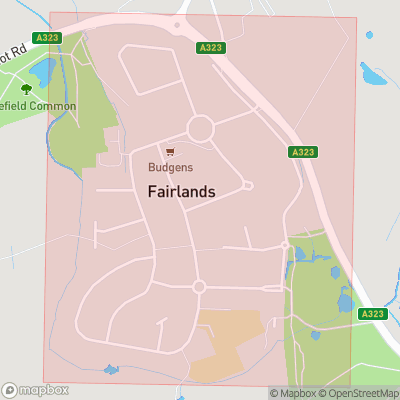 Map showing extent of Fairlands as bounding box