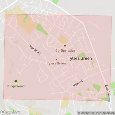 Map showing extent of Tylers Green as bounding box