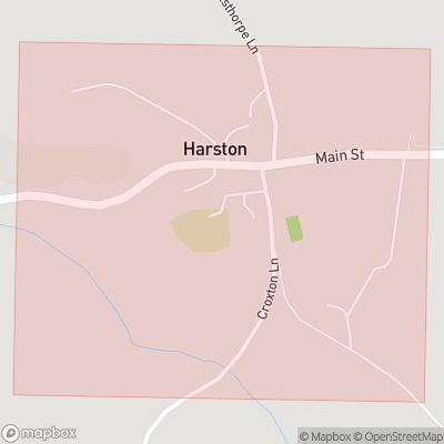 Map showing extent of Harston as bounding box