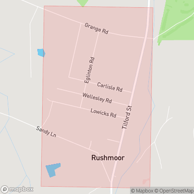 Map showing extent of Rushmoor as bounding box