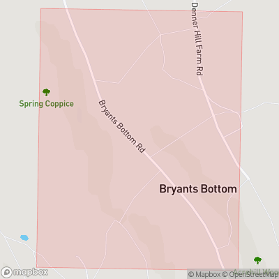 Map showing extent of Bryant's Bottom as bounding box