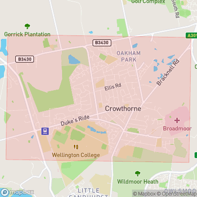 Map showing extent of Crowthorne as bounding box