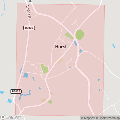 Map showing extent of Hurst as bounding box