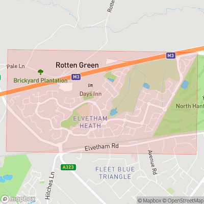 Map showing extent of Elvetham Heath as bounding box