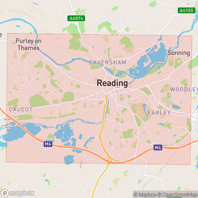 Map showing extent of Reading as bounding box