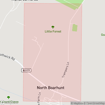 Map showing extent of North Boarhunt as bounding box