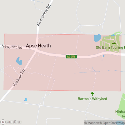 Map showing extent of Apse Heath as bounding box