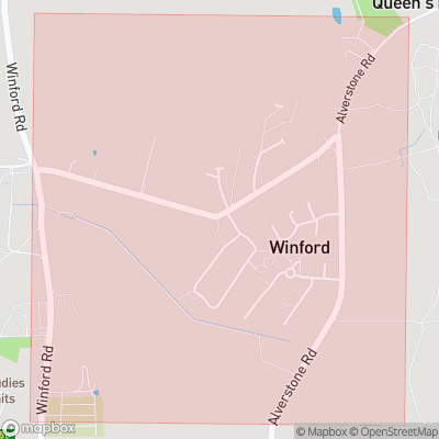 Map showing extent of Winford as bounding box