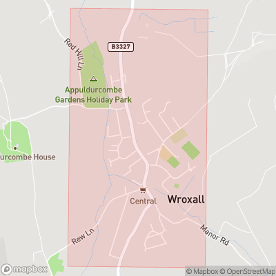 Map showing extent of Wroxall as bounding box