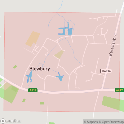 Map showing extent of Blewbury as bounding box