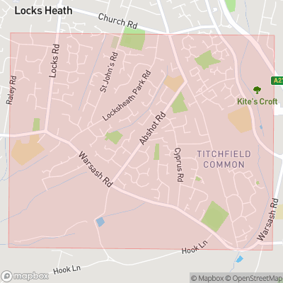 Map showing extent of Titchfield Common as bounding box