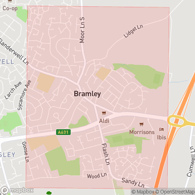 Map showing extent of Bramley as bounding box