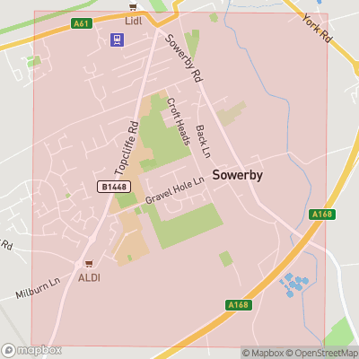 Map showing extent of Sowerby as bounding box